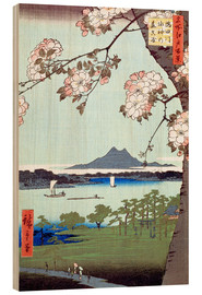 Puutaulu  Masaki and the Suijin Grove by the Sumida River - Utagawa Hiroshige