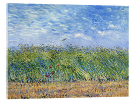 Akryylilasitaulu  Corn field with poppies and partridge - Vincent van Gogh