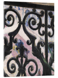 Akryylilasitaulu  View through balcony grill - Gustave Caillebotte
