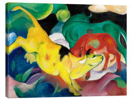 Canvas-taulu  Cows - yellow, red, green - Franz Marc