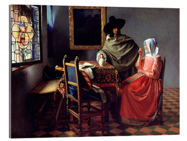 Akryylilasitaulu  Lord and lady at the wine - Jan Vermeer