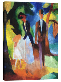 Canvas-taulu  People at the blue lake - August Macke