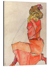 Alumiinitaulu  Kneeling woman in red dress - Egon Schiele
