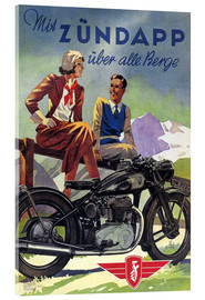 Akryylilasitaulu  With Zündapp over the hills (German) - Advertising Collection