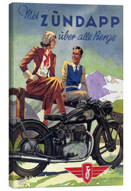 Canvas-taulu  With Zündapp over the hills (German) - Advertising Collection