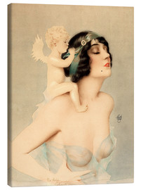 Canvas-taulu  Girl with angel - Alberto Vargas