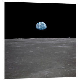 Akryylilasitaulu  Apollo 11 - rising of the earth above the moon