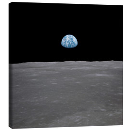 Canvas-taulu  Apollo 11 - rising of the earth above the moon