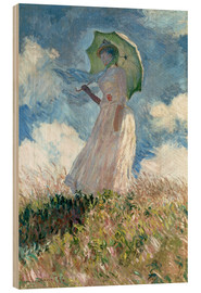 Puutaulu  Woman with parasol turned to the left - Claude Monet