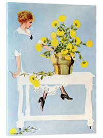 Akryylilasitaulu  Housekeeper with bouquet - Clarence Coles Phillips