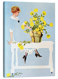 Canvas-taulu  Housekeeper with bouquet - Clarence Coles Phillips