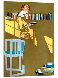 Akryylilasitaulu  Reading in front of the bookshelf - Clarence Coles Phillips