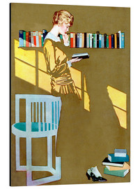 Alumiinitaulu  Reading in front of the bookshelf - Clarence Coles Phillips