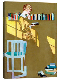 Canvas-taulu  Reading in front of the bookshelf - Clarence Coles Phillips