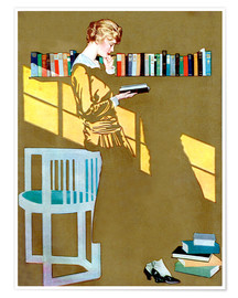 Juliste  Reading in front of the bookshelf - Clarence Coles Phillips