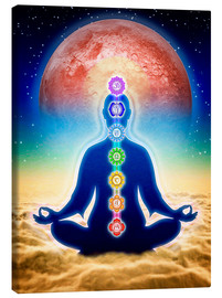 Canvas-taulu  In meditation with chakras - red moon edition - Dirk Czarnota