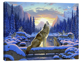 Canvas-taulu  Wolf learns the howling - Chris Hiett