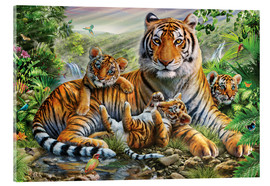 Akryylilasitaulu  Tiger and Cubs - Adrian Chesterman