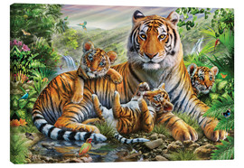 Canvas-taulu  Tiger and Cubs - Adrian Chesterman