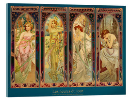 Akryylilasitaulu  Les heures du jour, collage - Alfons Mucha