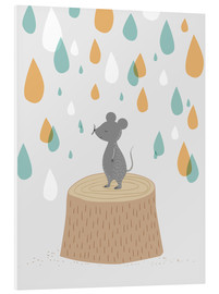 PVC-taulu  Mouse in the colorful rain - Sandy Lohß