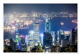 Juliste Hong Kong city and harbour at night