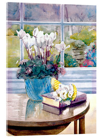 Akryylilasitaulu  Flowers and book on table - Julia Rowntree