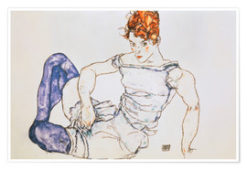 Juliste Seated Woman with violet stockings