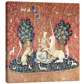 Canvas-taulu  The Lady and the Unicorn: The sense of sight