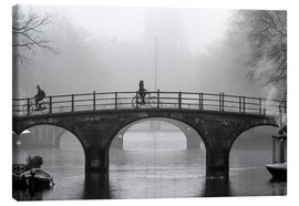 Canvas-taulu  Amsterdam canal in black and white - George Pachantouris