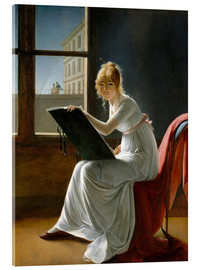 Akryylilasitaulu  Young Woman Drawing - Marie-Denise Villers