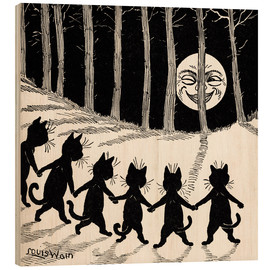 Puutaulu  Cats dancing at full moon - Louis Wain