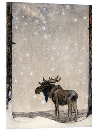 Akryylilasitaulu  Elk in the Snow - John Bauer