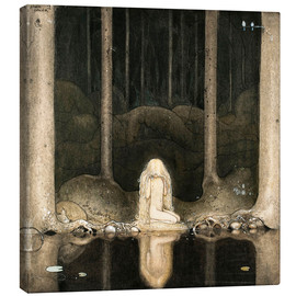 Canvas-taulu  Princess Tuvstarr gazing down into the dark waters of the forest tarn - John Bauer
