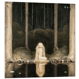 PVC-taulu  Princess Tuvstarr gazing down into the dark waters of the forest tarn - John Bauer