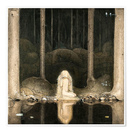 Juliste  Princess Tuvstarr gazing down into the dark waters of the forest tarn - John Bauer