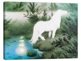 Canvas-taulu  The Nix as a white horse - Theodor Kittelsen