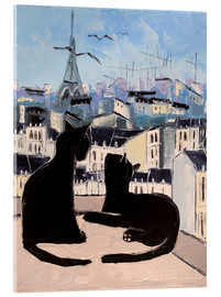 Akryylilasitaulu  Cats and doves over Paris - JIEL