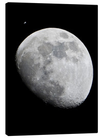 Canvas-taulu  ISS and the Moon - NASA