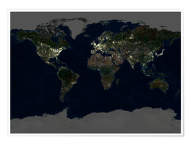 Juliste Whole Earth at night