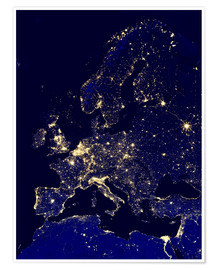 Juliste  Europe at night - NASA
