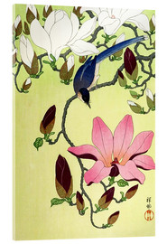 Akryylilasitaulu  Magpie with Pink and White Magnolia Blossoms - Ohara Koson