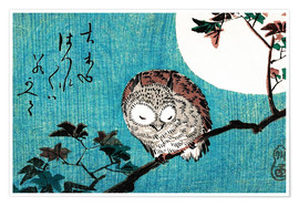 Juliste  Sleeping owl full moon - Utagawa Hiroshige