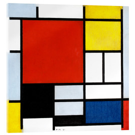 Akryylilasitaulu  Composition with red, yellow, blue and black - Piet Mondriaan