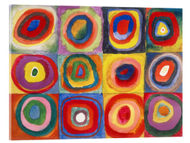 Akryylilasitaulu  Colour study - squares and concentric rings - Wassily Kandinsky