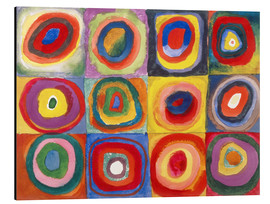 Alumiinitaulu  Colour study - squares and concentric rings - Wassily Kandinsky