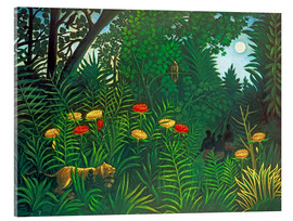 Akryylilasitaulu  Exotic landscape with tiger and hunters - Henri Rousseau