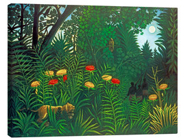 Canvas-taulu  Exotic landscape with tiger and hunters - Henri Rousseau