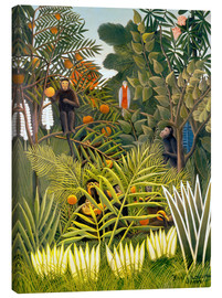 Canvas-taulu  Exotic landscape with monkeys and a parrot - Henri Rousseau