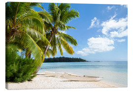 Canvas-taulu  Beach with palm trees and turquoise ocean in Tahiti - Jan Christopher Becke